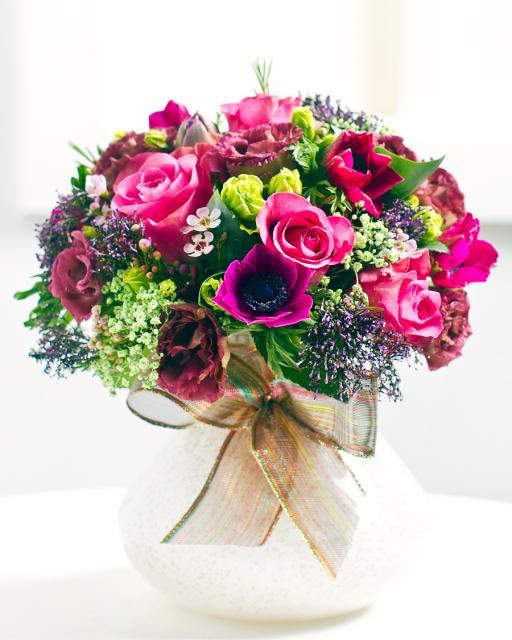 Круглый букет из розовых роз
